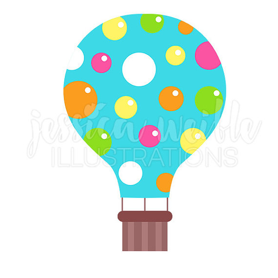 570x570 Blue Polka Dot Hot Air Balloon Cute Digital Clipart, Hot Air