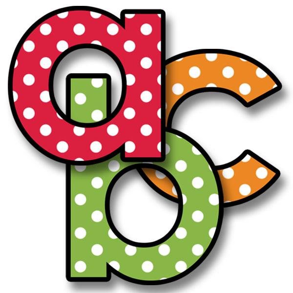 600x600 Alphabet Letters Clip Art Polka Dot