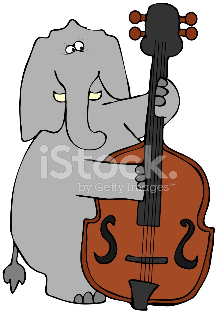 709x1024 Elephant Playing Bass Fiddle Stock Vector