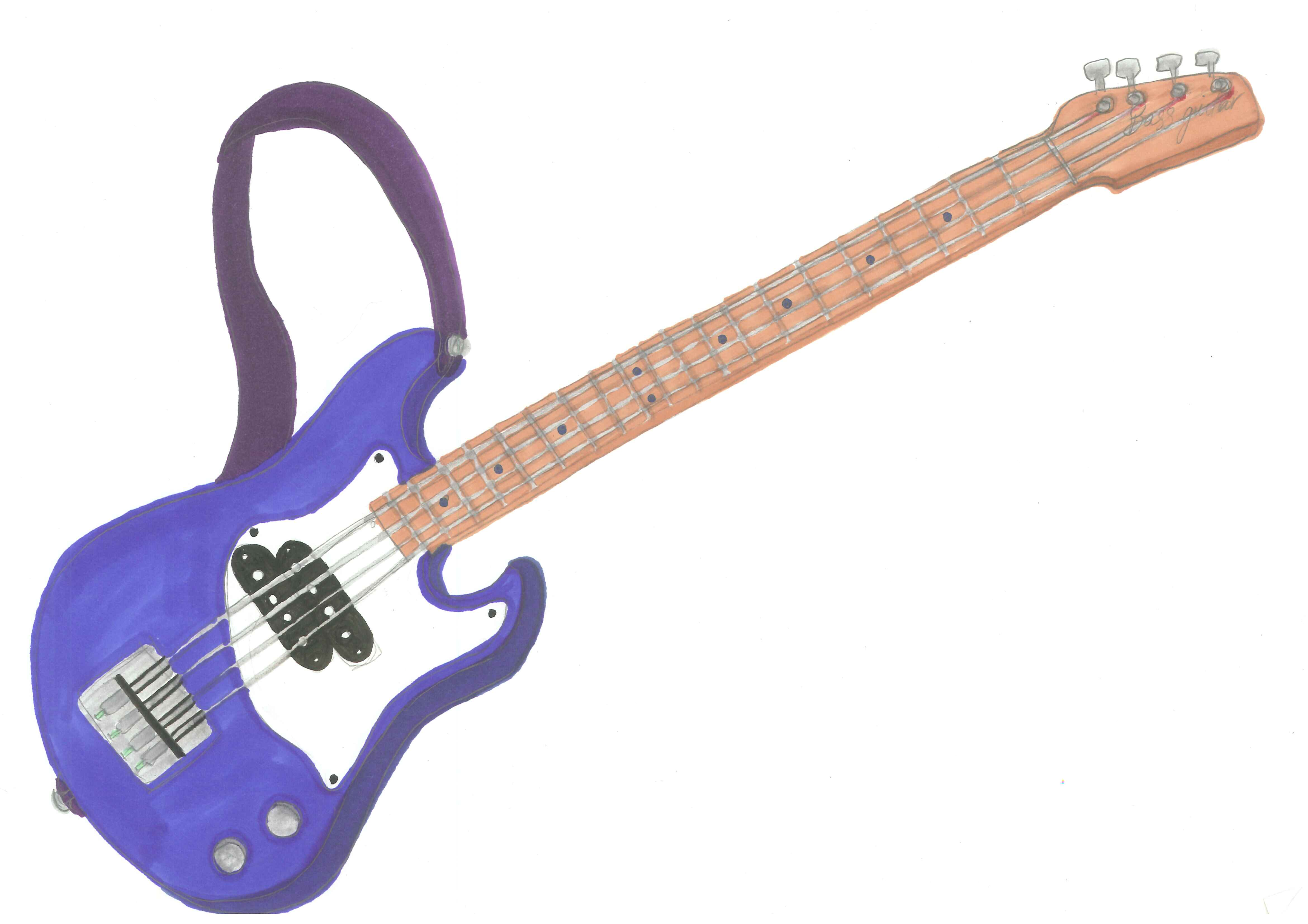 4680x3307 Pretty Design Bass Guitar Clipart Drawing Of Electric Line Art