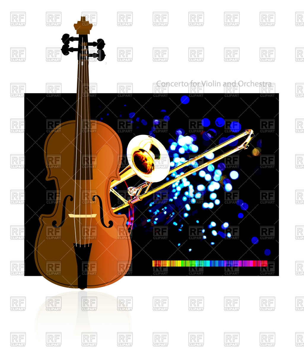1024x1200 Violin And Trumpet On Abstract Background Royalty Free Vector Clip
