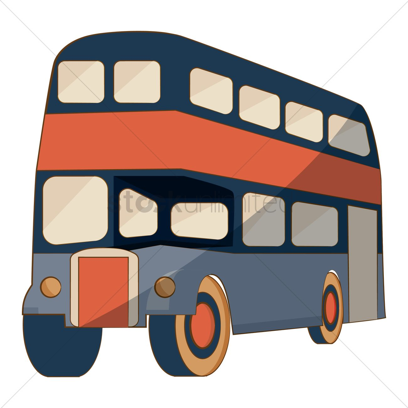 1300x1300 Double Decker Bus Vector Image