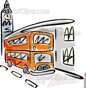 293x300 Double Decker Bus And Big Ben Vector Clip Art