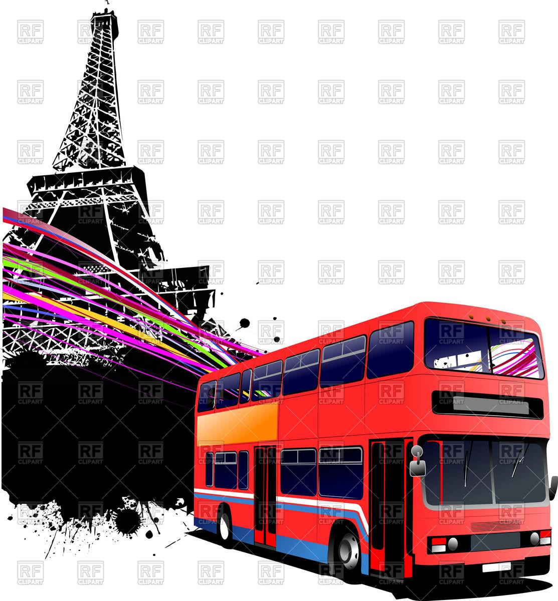 1113x1200 Double Decker Bus In Paris Royalty Free Vector Clip Art Image