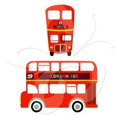 236x236 Printable London Bus Double Decker Wall Art Kids Room Decor