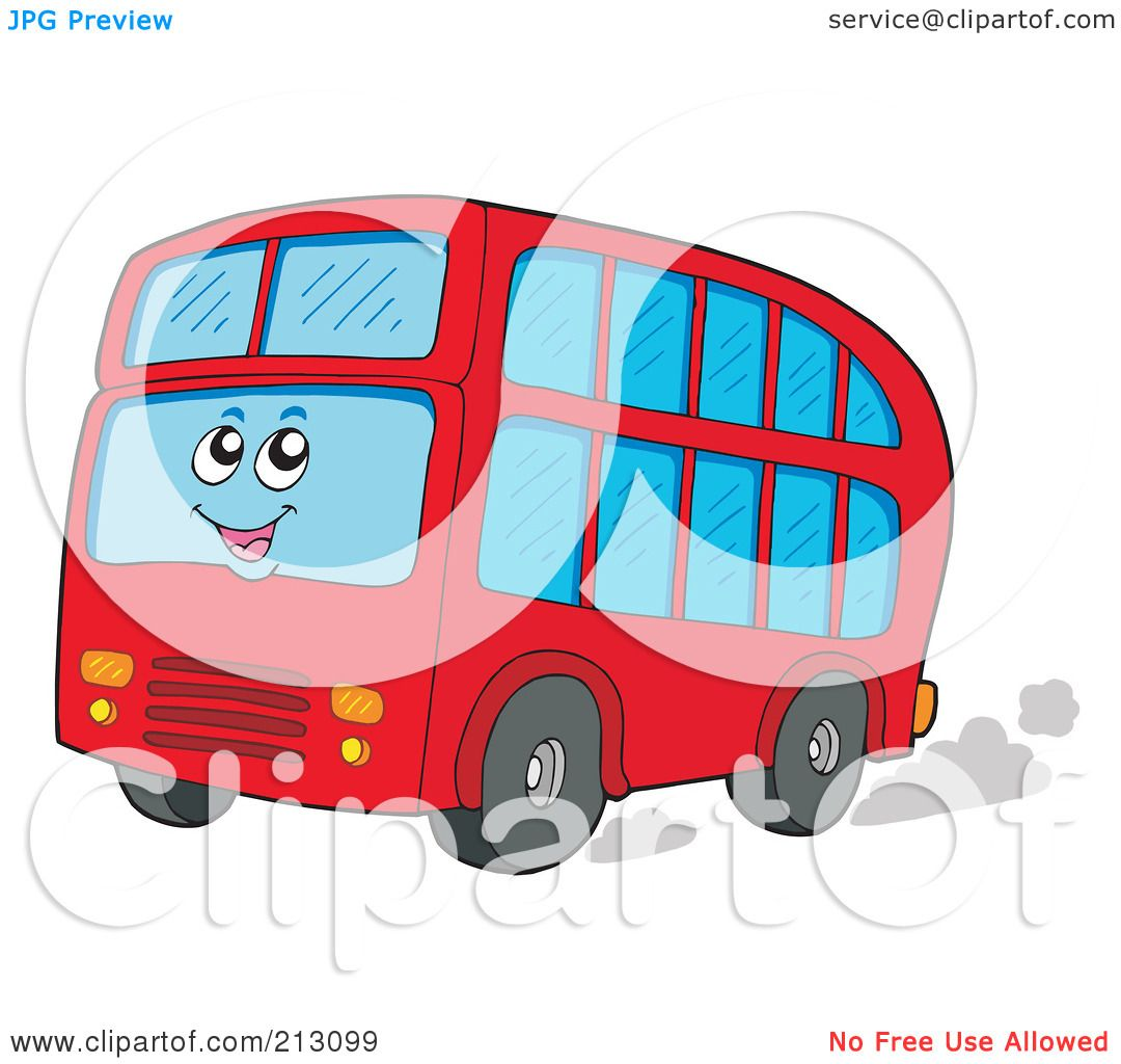 1080x1024 Royalty Free (Rf) Clipart Illustration Of A Happy Double Decker