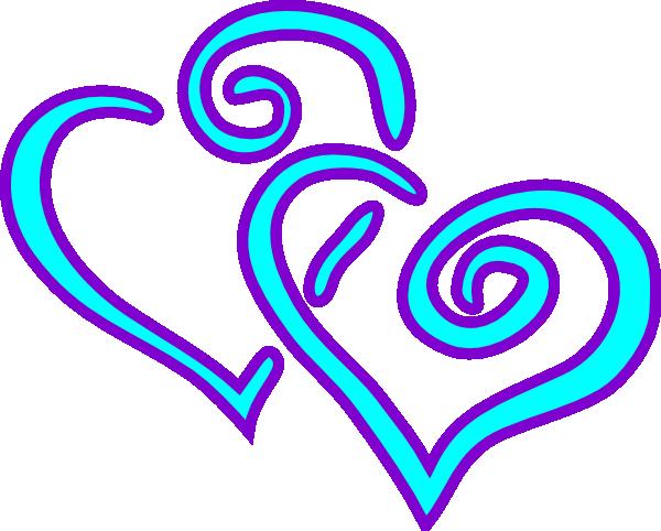 600x482 Aqua Purple Double Hearts Clip Art