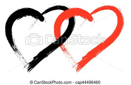 450x294 Vector Double Heart Shape With Brush Painting Isolated On Clip