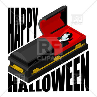 400x400 Happy Halloween. Dracula In Open Coffin. Royalty Free Vector Clip