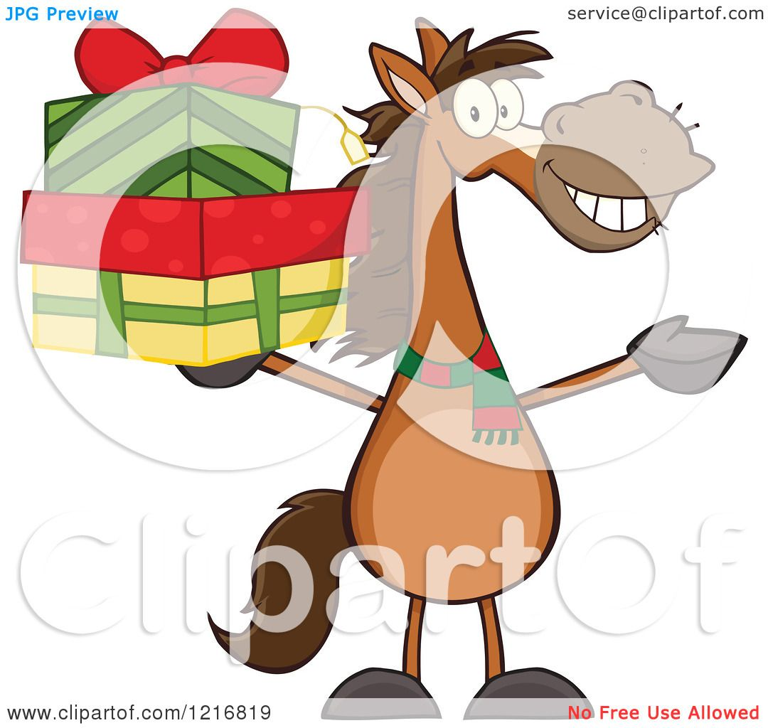 1080x1024 Clipart Of A Happy Brown Horse Holding Up A Stack Of Christmas