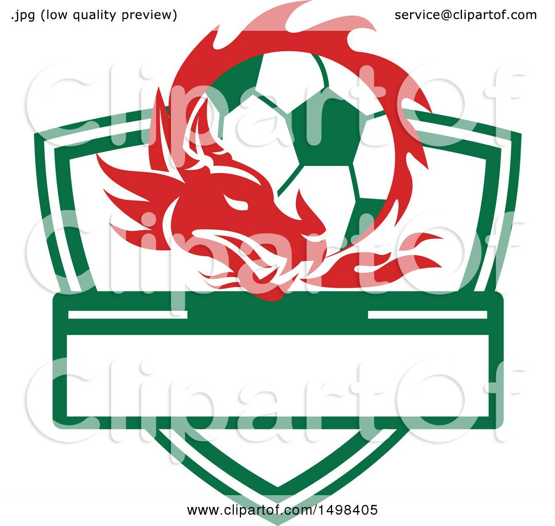 1080x1024 Clipart Of A Red Welsh Dragon Around A Soccer Ball Over A Shield