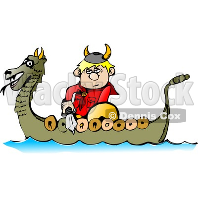 400x400 Viking Boy Traveling In A Dragon Boat While Armed With A Sword
