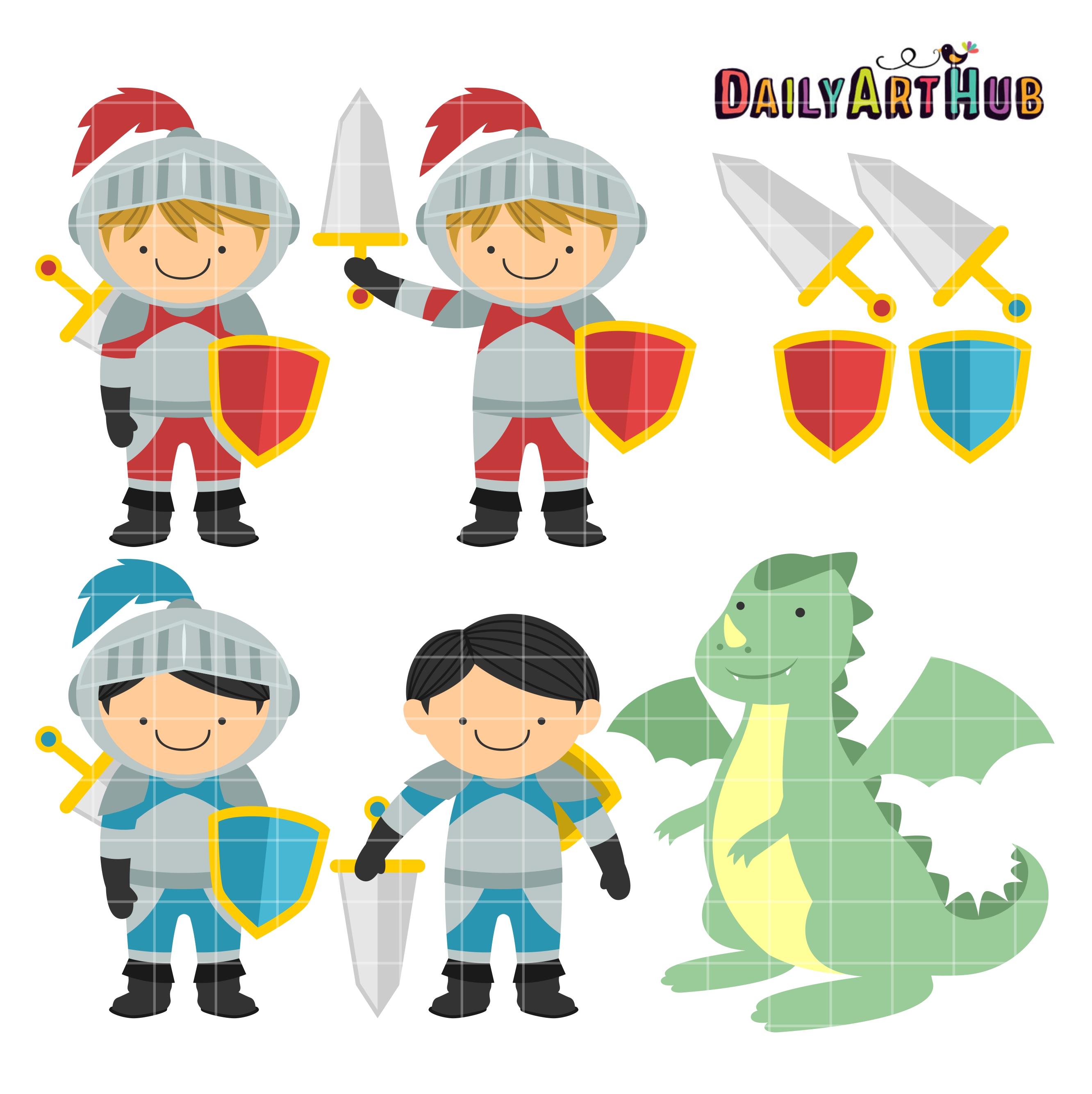 2664x2670 Cute Knights And Dragon Clip Art Set Daily Art Hub Free Clip