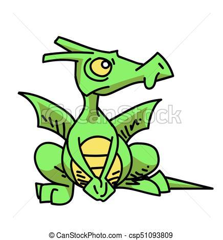 436x470 Funny Little Dragon Cartoon Hand Drawn Image. Original Vector