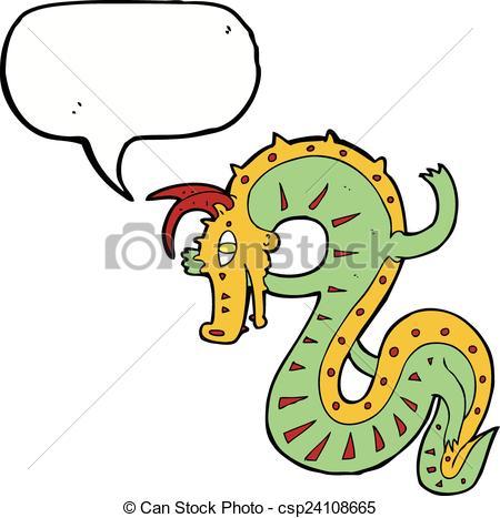 450x467 Saxon Dragon Cartoon With Speech Bubble Clip Art Vector