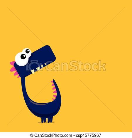 450x470 Vector Cartoon Funny Dragon. Cartoon Dinosaur. Vector Clip Art