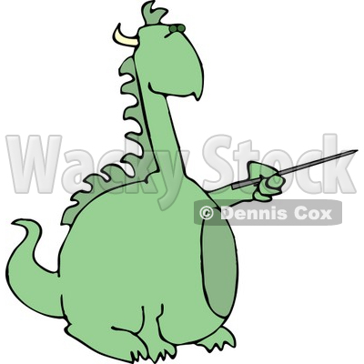 400x400 Anthropomorphic Reptilian Dragon Pointing A Pointer Clipart