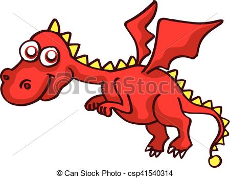 450x348 Red Dragon Funny Cartoon Design For Kids Vector Vector Clip Art