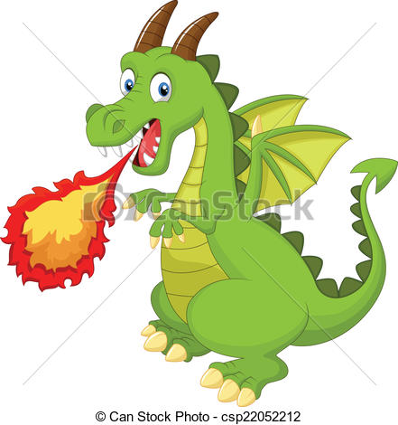 441x470 Vector Illustration Of Cartoon Dragon With Fire Vector Clip Art