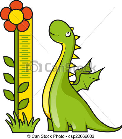 413x470 Cute Little Dragon With Height Measuring Scale Vector Clipart