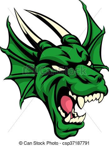 350x470 Dragon Mean Animal Mascot. An Illustration Of A Dragon Eps