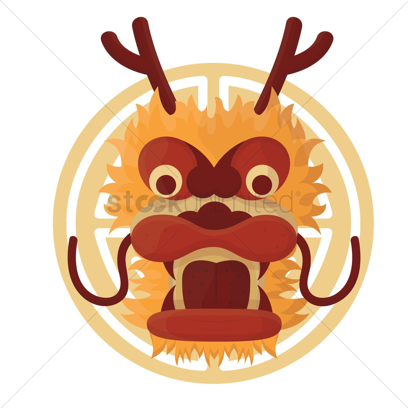 1300x1300 Free Chinese Dragon Face Vector Image
