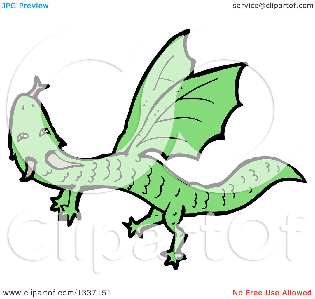 1080x1024 Clipart Of A Cartoon Flying Green Dragon