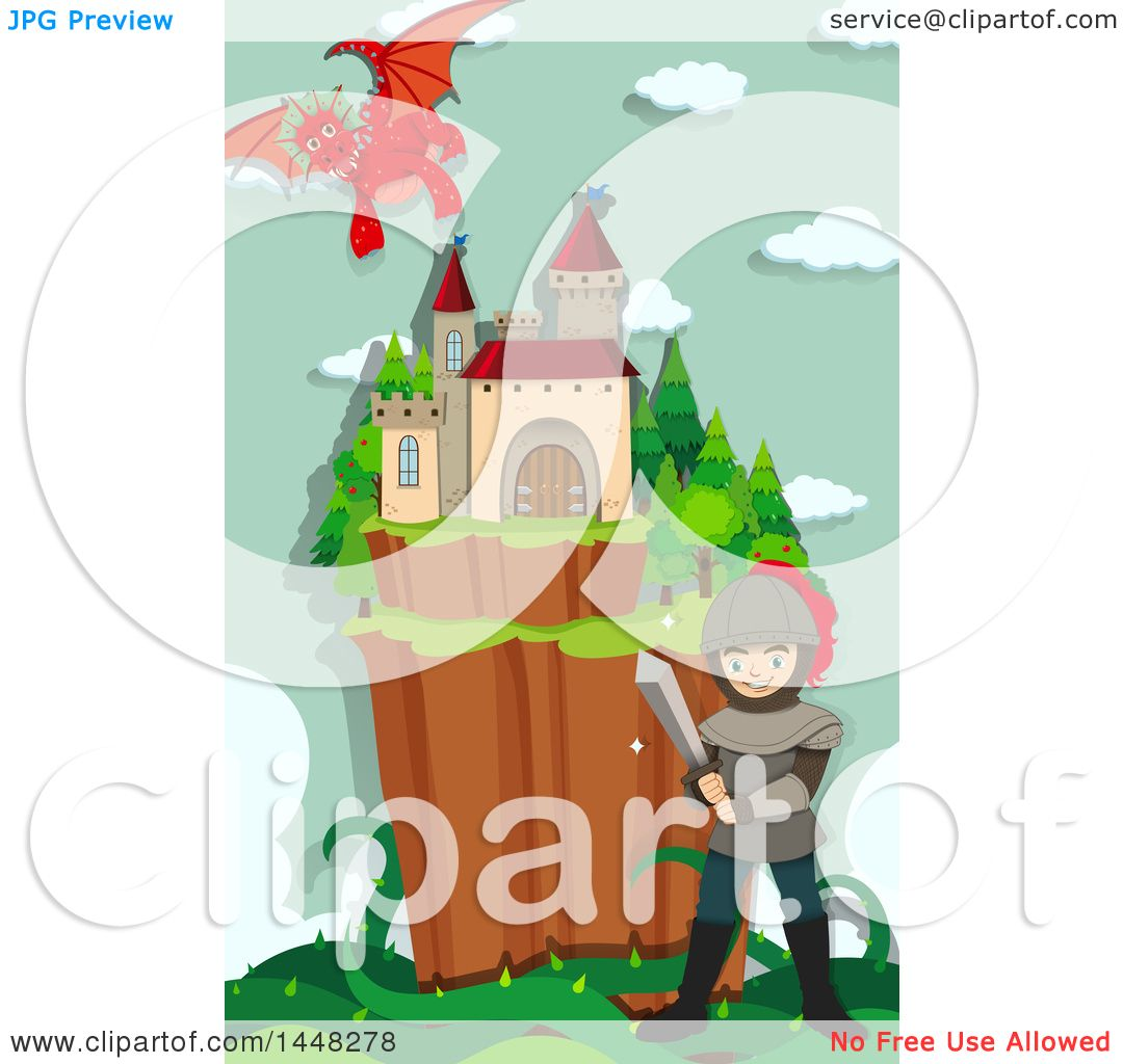 1080x1024 Clipart Of A Knight, Guardian Dragon And Fairy Tale Castle