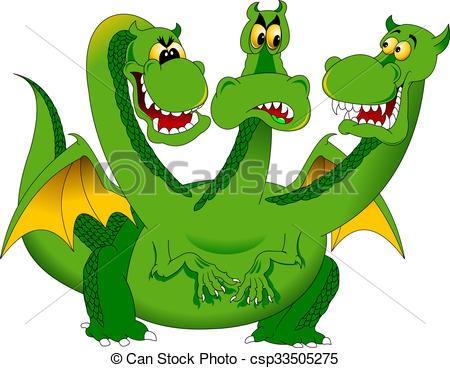450x368 Three Headed Green Dragon. Animal, Art, Artwork, Big, Cartoon