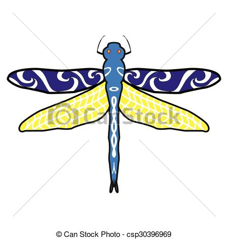 450x470 Abstract Design Dragonfly. Insect With Wings. Drawn Clip Art