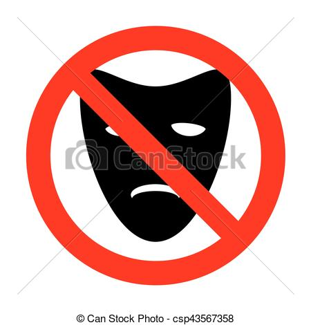 450x470 No Tragedy Theatrical Masks. Clipart Vector
