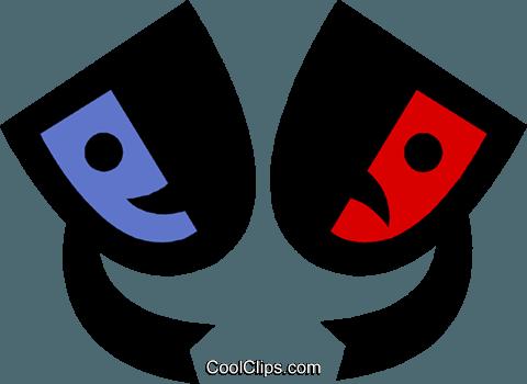480x350 Theatre Masks Royalty Free Vector Clip Art Illustration Vc019296