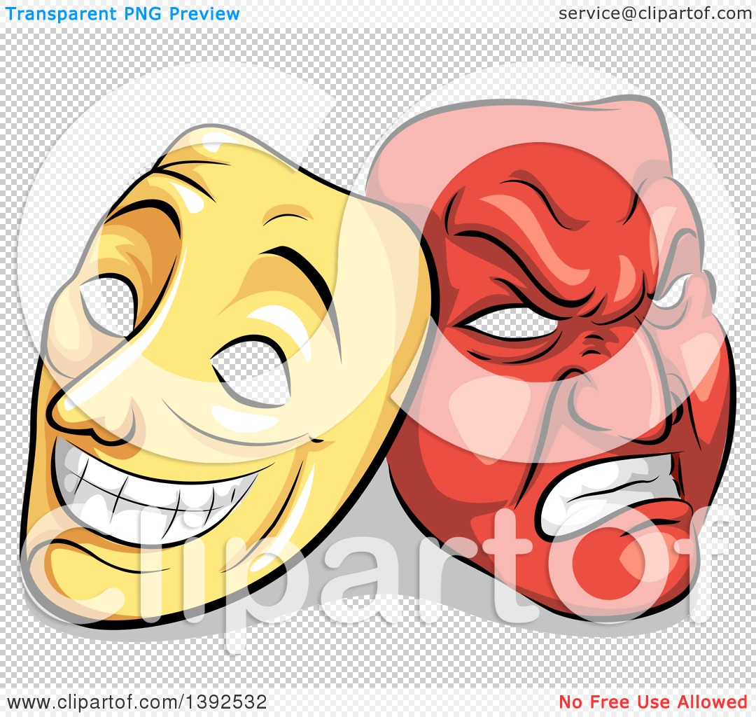 1080x1024 Clipart Of Yellow And Red Biopolar Theater Masks