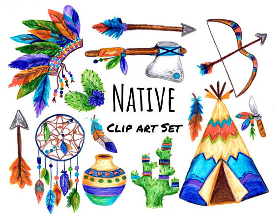 570x435 Hand Drawn Native Clip Art, Native Clipart, Southwestern Clip Art