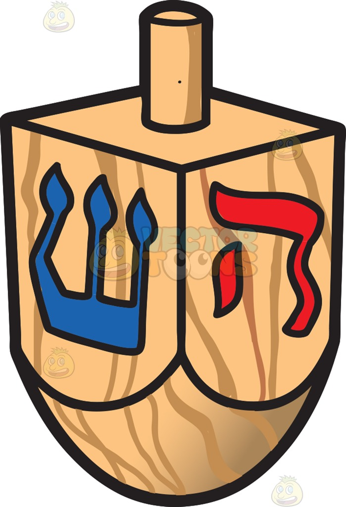699x1024 A Wooden Dreidel Cartoon Clipart Vector Toons