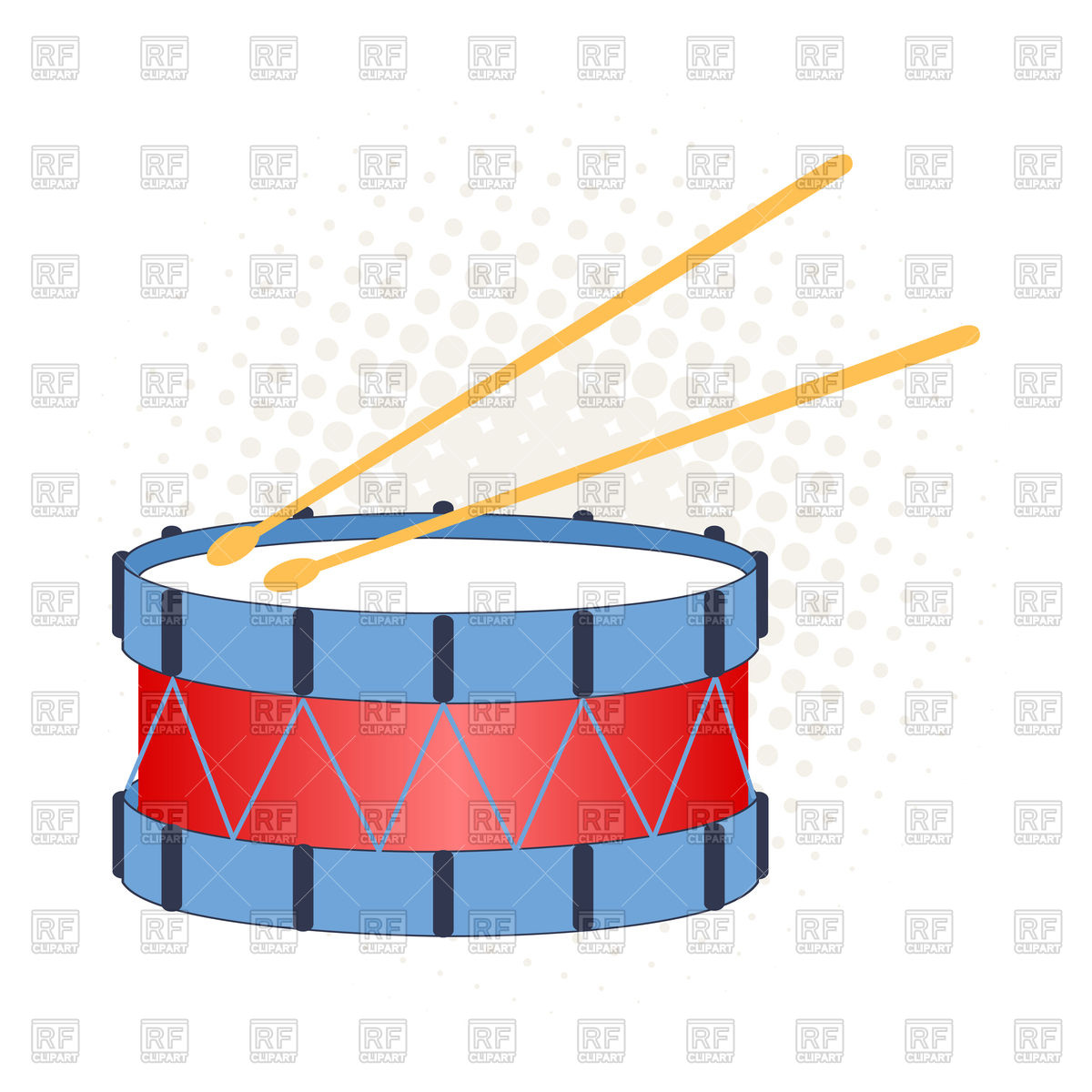 1200x1200 Illustration Of A Big Toy Drum On A White And Dot Background