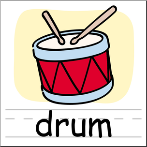 304x304 Clip Art Basic Words Drum Color Labeled I Abcteach