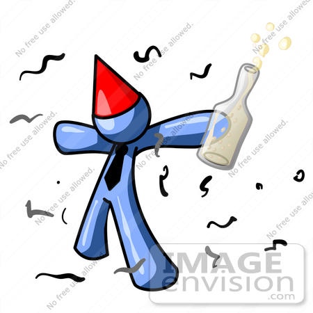 450x450 Clip Art Graphic Of A Blue Guy Character In A Party Hat, Getting