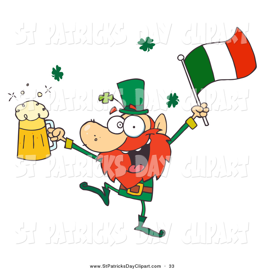 1024x1044 Clip Art Of A Drunk Irish Leprechuan Dancing With Beer And A Flag