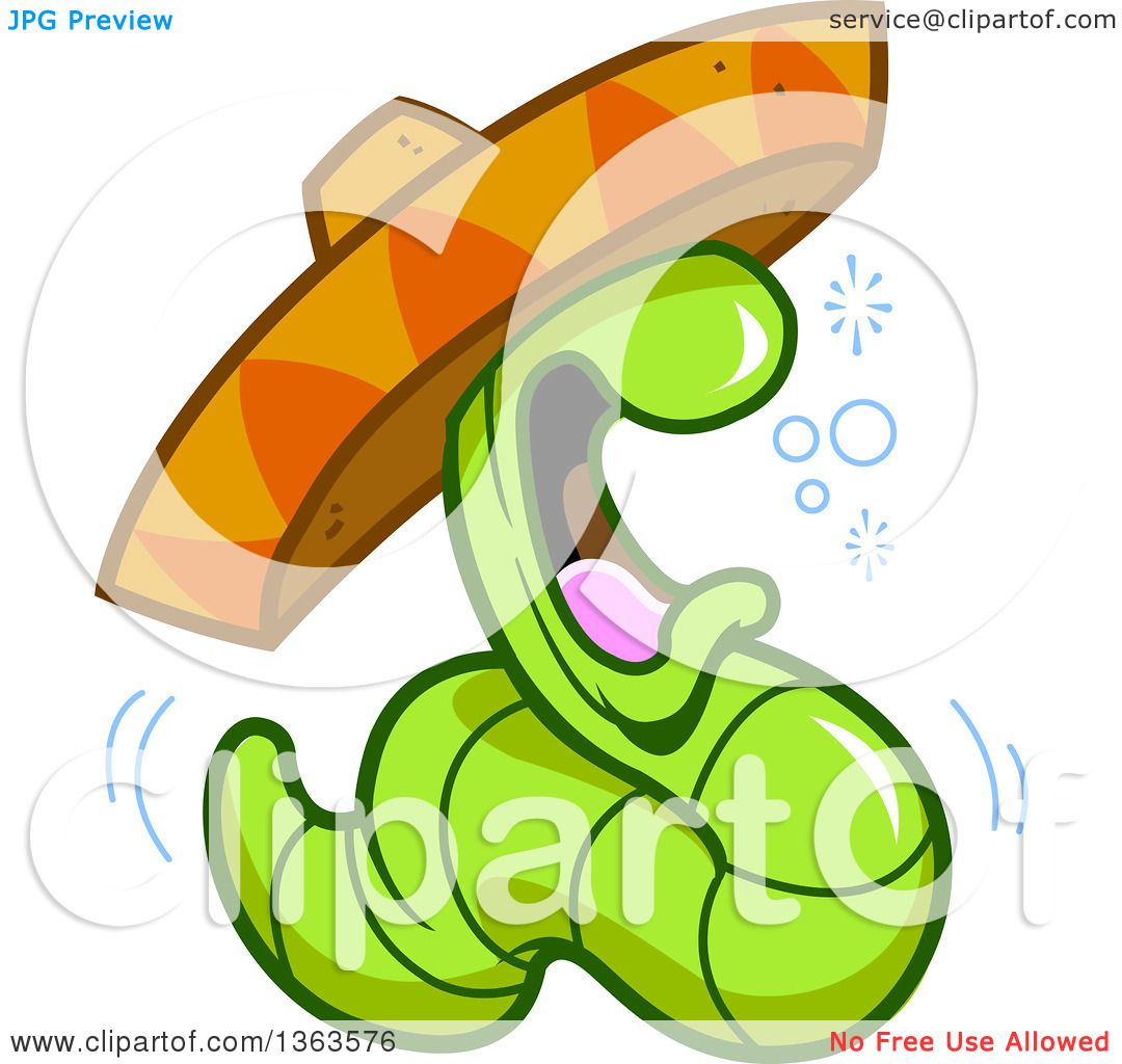 1080x1024 Clipart Of A Cartoon Drunk Tequila Worm Wearing A Mexican Sombrero