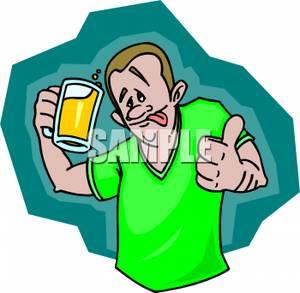 300x293 A Drunk Man Holding A Mug Of Beer Clip Art Image