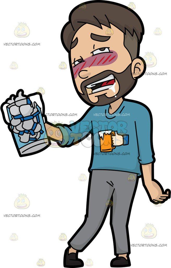 655x1024 A Man Drunk On Facebook Likes Cartoon Clipart Vector Toons