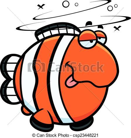 448x470 Cartoon Drunk Clownfish. A Cartoon Illustration Of A Vector