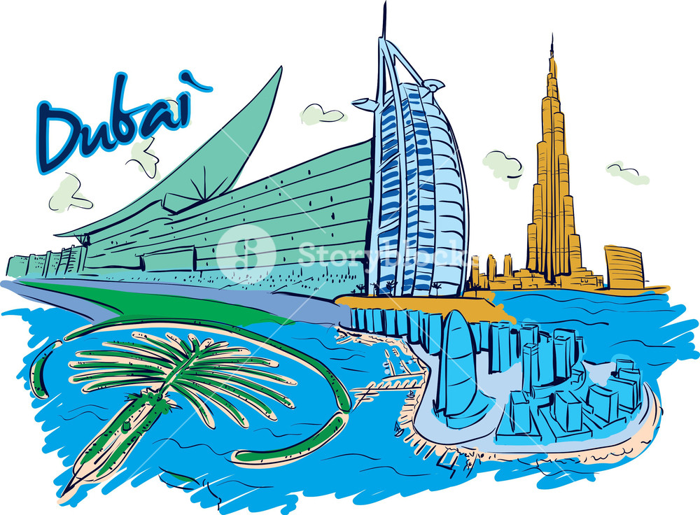 1000x736 Dubai Vector Doodle Royalty Free Stock Image