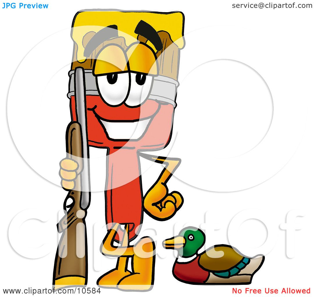 1080x1024 Clipart Picture Of A Paint Brush Mascot Cartoon Character Duck