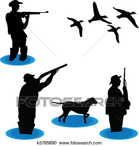 450x470 Duck Hunting Silhouette Clipart
