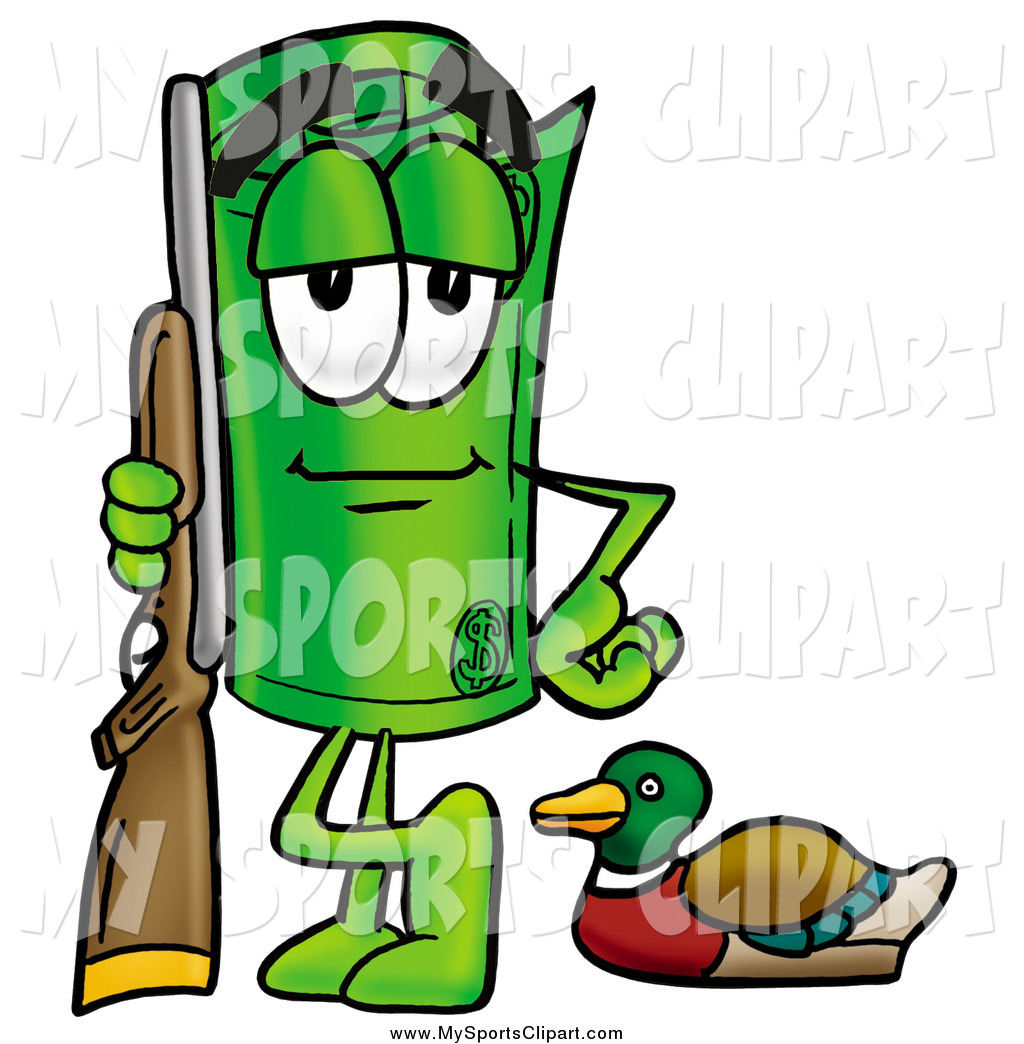 1024x1044 Sports Clip Art Of A Rolled Money Character Duck Hunting By