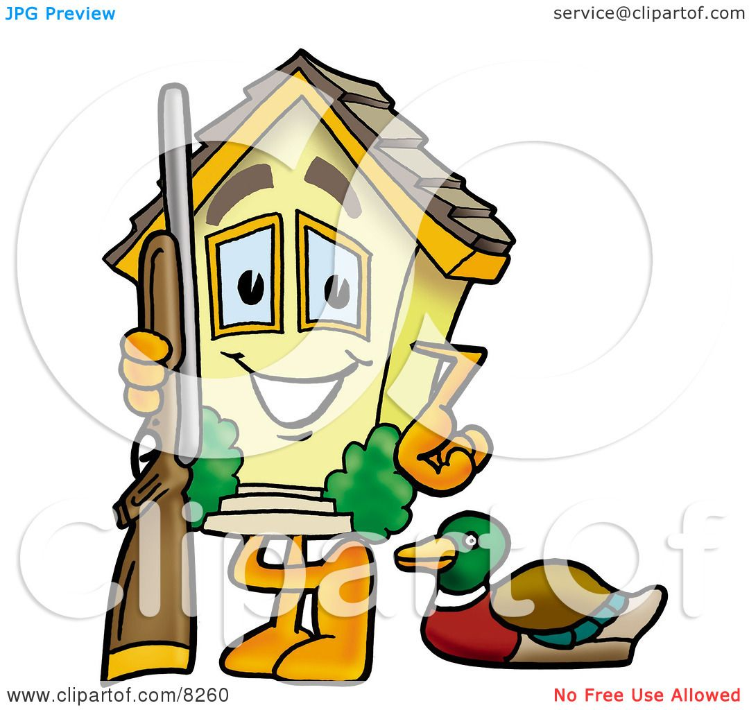 1080x1024 Clipart Picture Of A House Mascot Cartoon Character Duck Hunting
