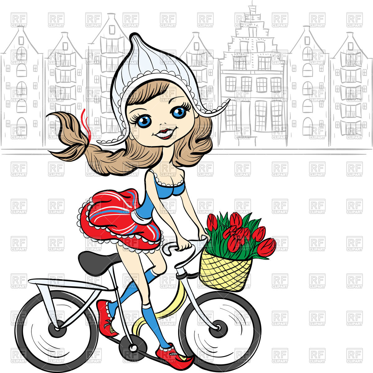 1200x1200 Cute Girl On Bicycle In National Dutch Costume In Front