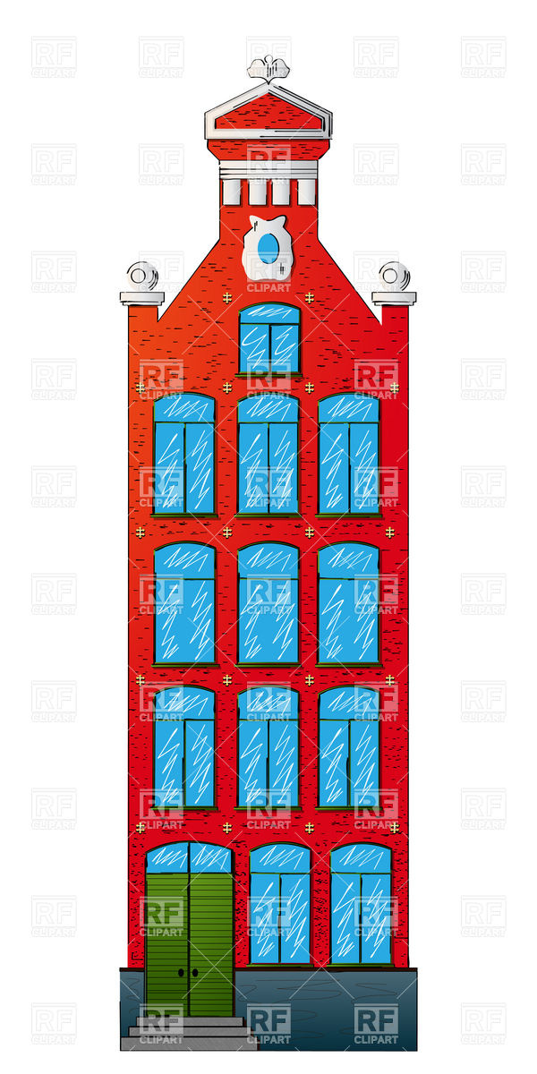 600x1200 Dutch Style House Royalty Free Vector Clip Art Image